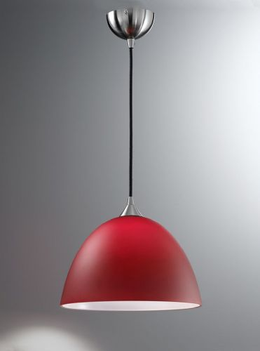 Franklite FL2290/1/934 Satin Nickel & Red Pendant Light